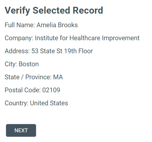 screenshot of verifying a record