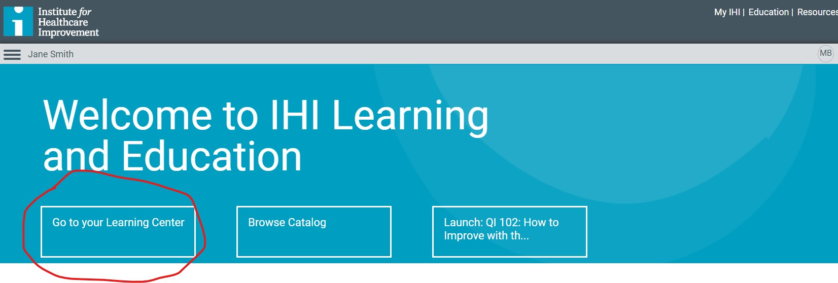 screenshot of Education Platform homepage with Learning Center highlighted